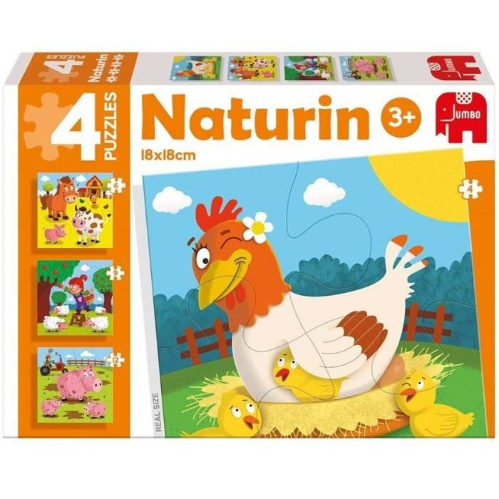 DISET 4 Puzzles Animaux Naturin Ferme