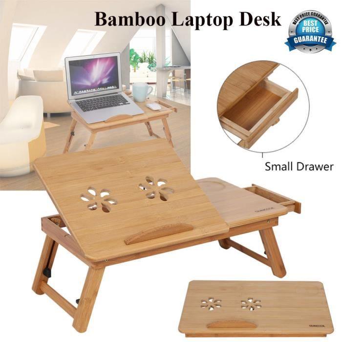 30 X Table 50 20 Pc Portable De Pour Avec Ajustable Inclinable Flexible Multifonction Cm Lit Pliable En Tiroir Bambou l1TJcFK3