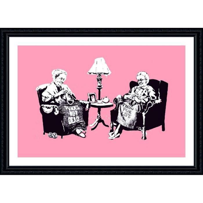 TABLEAU - TOILE Old Women Knitting Banksy Black POSTER ENMAILLÉ (I