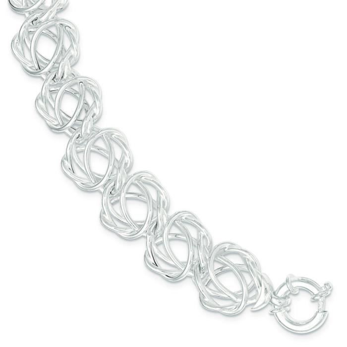 Argent Sterling poli Bracelet lien - 8 -