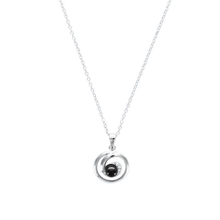 Jouailla - Collier argent925/1000e avec boule céramique encerclée noire BijsYHG
