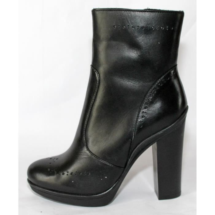 PROMO BOTTINESFEMME CUIR NOIR T 37 NEUVES