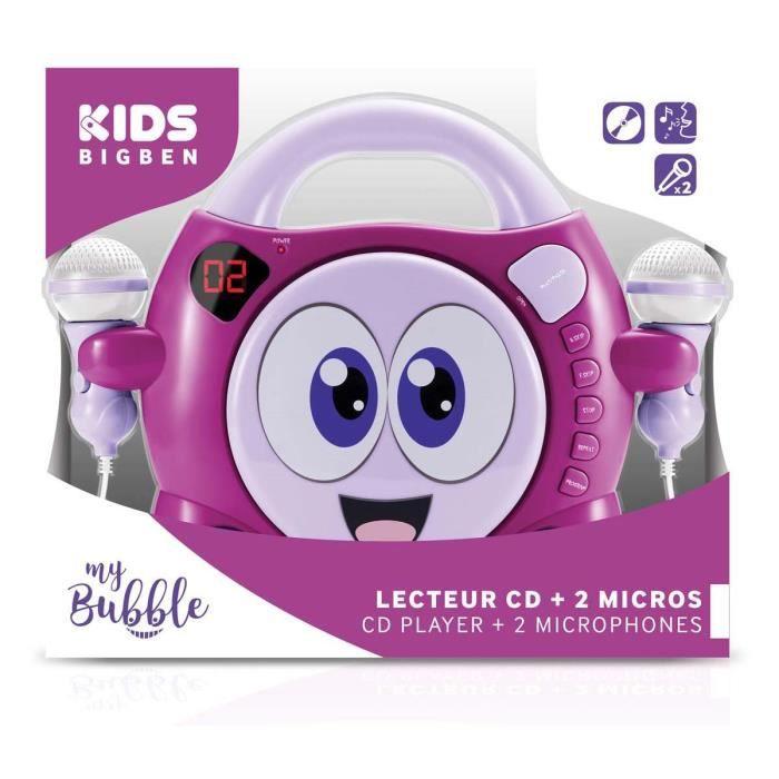 Lecteur Cd Portable Avec 2 Micros -rose Et Violet Smiley