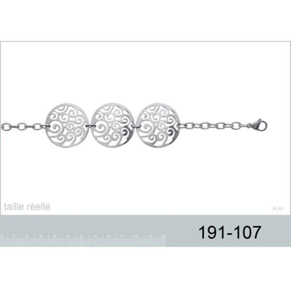 Bracelet avec pendentifs rond arabesque en acier