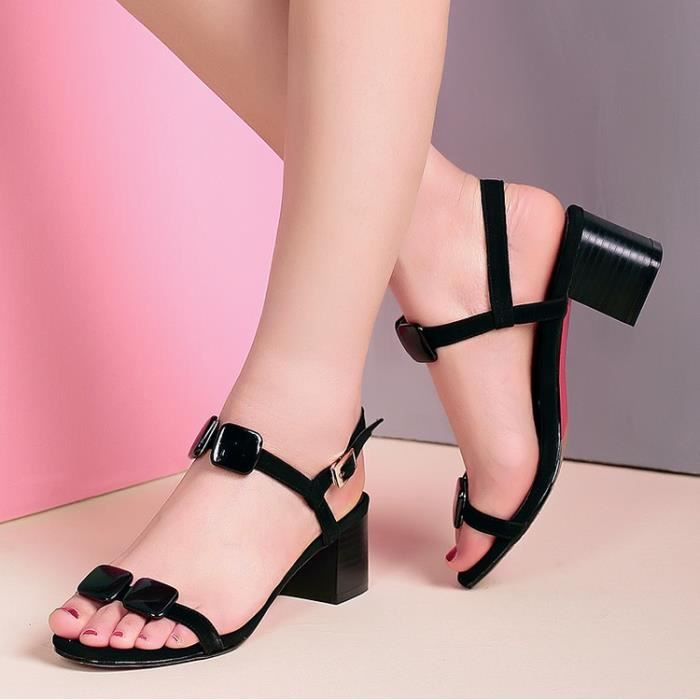 talons hauts-Pure Color Heel Thick Women Ankle ... i8xclH1