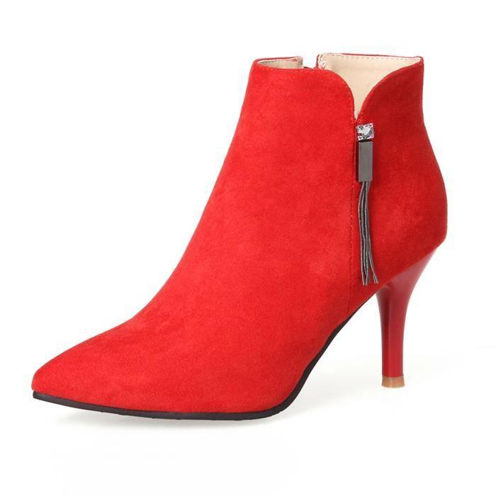 Oaleen Bottines pointues femme sexy talon haut suède chaussures hiver boots soirée rouge 43