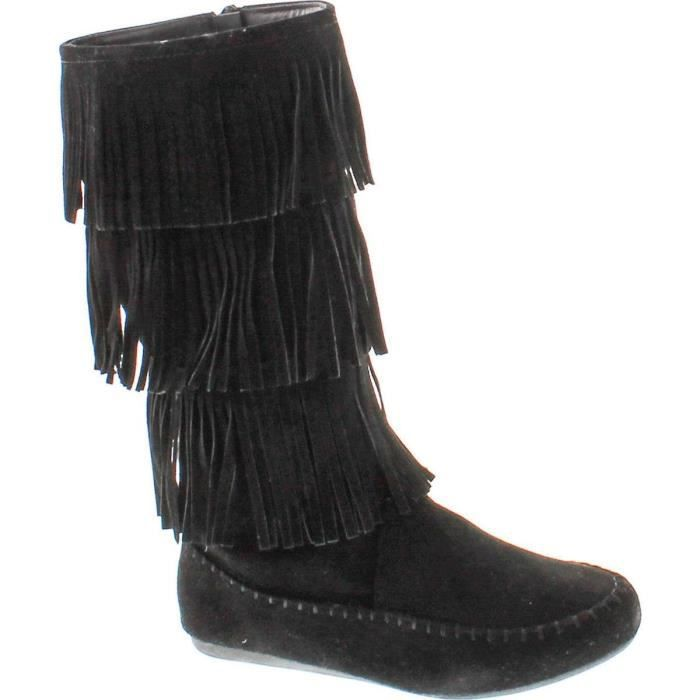 Candice-48 Five Tier Faux Suede Fringe Boots LD7KF Taille-40