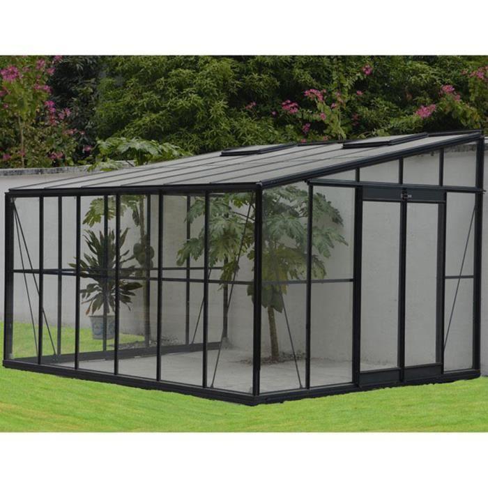 serre grise jardin d 39 hiver 12m adossable avec base 375 x 316 x 250 cm achat vente serre de. Black Bedroom Furniture Sets. Home Design Ideas