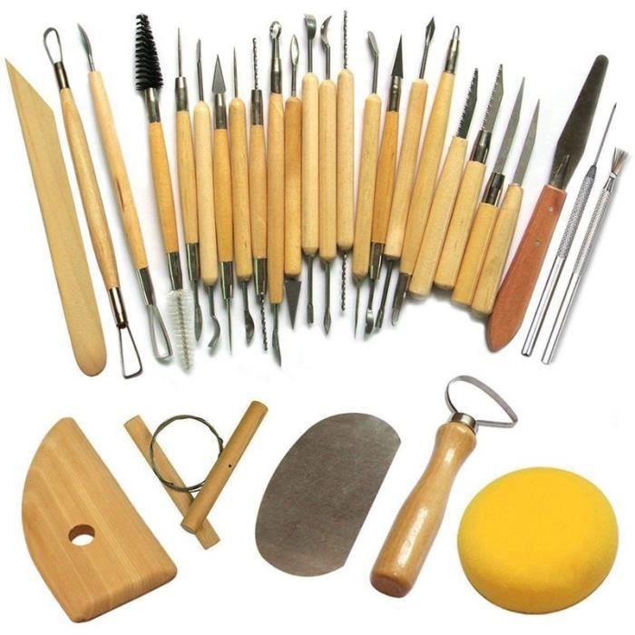 Outil de Poterie Outils de Sculpture Argile Burin pour Potier   Artiste de Céramique  Kit 30 Pcs f36727799730