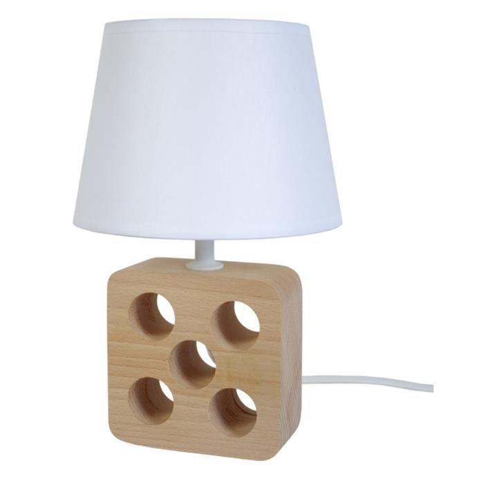 Lampe A Poser Ou De Chevet Kubo E14 40w Naturel Et Blanc Achat