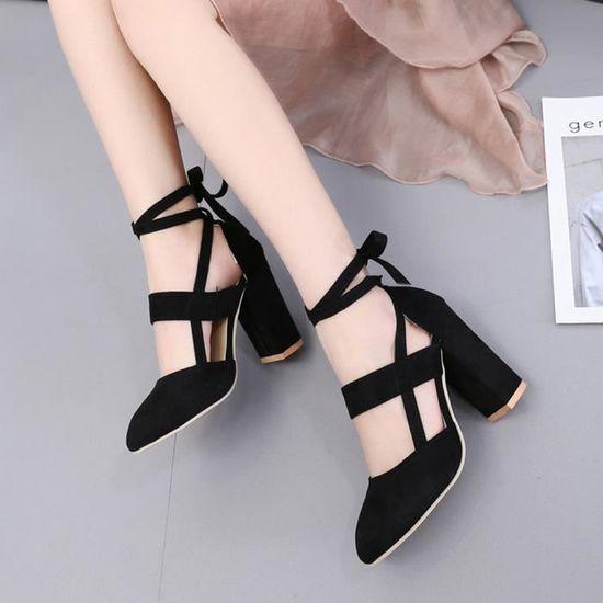 Femmes Party Suede Classic Strappy épais Escarpin Sandales Classic Suede Plus Chaussures @noir Benjanies Noir Noir - Achat / Vente escarpin 592a63