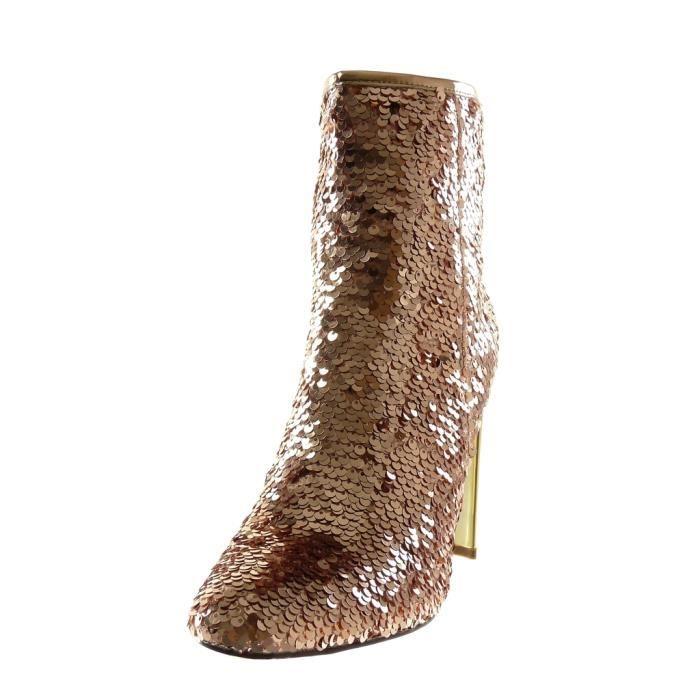 Angkorly - Chaussure Mode Bottine Disco femme Sequins brillant doré Talon haut bloc 10.5 CM - Intérieur Légèrement Fourrée - Rose -