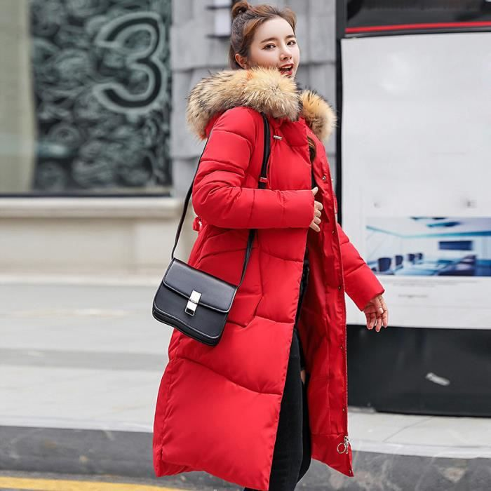 Slim Veste Fourrure Épais D'hiver Les Capuchon À Fausse Chaud Manteau En Wei3910 Femmes Long wpvzqAR