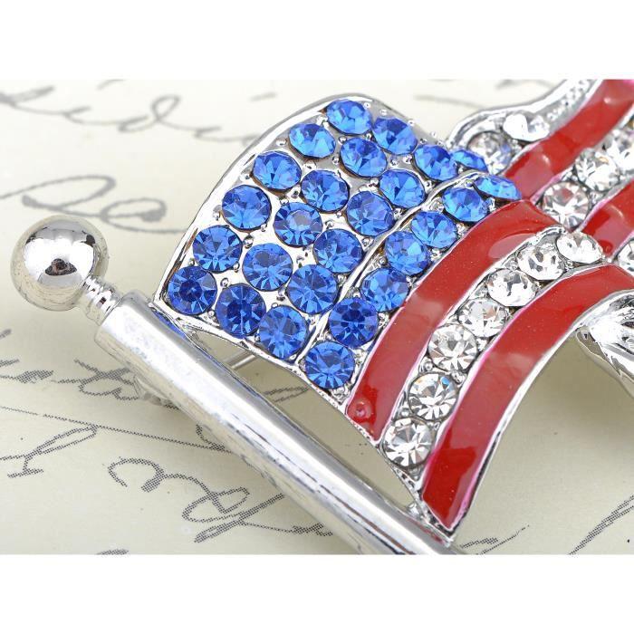 Strass Cristal saphir Sway USA American Drapeau patriotique Fashion Broche