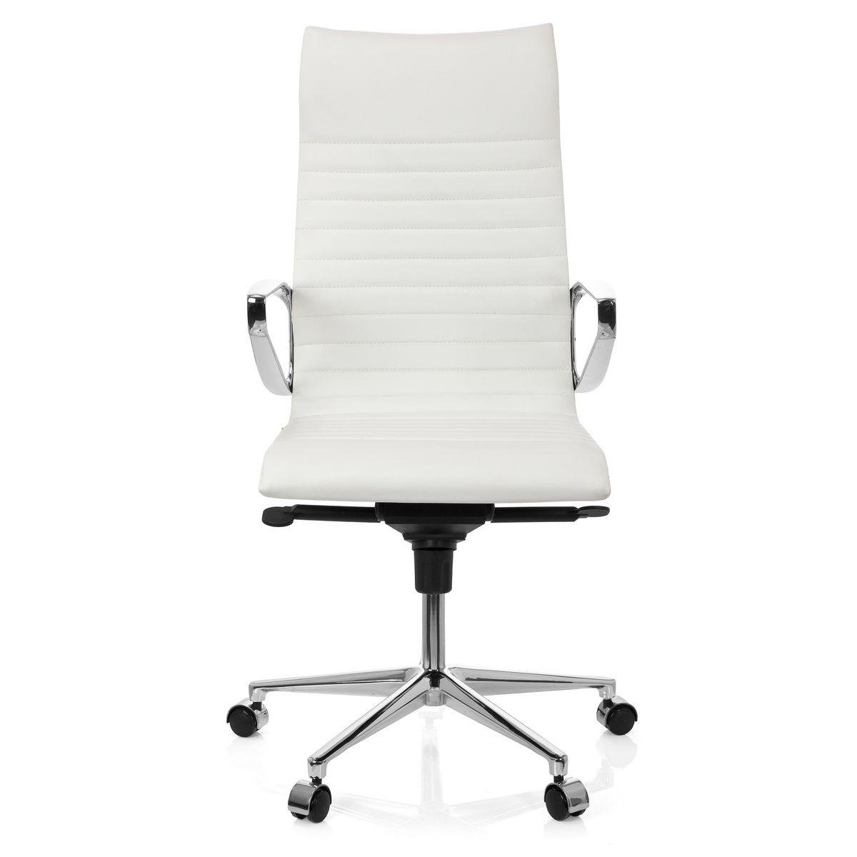 Chaise de bureau Fauteuil de direction PARIBA I cuir blanc hjh