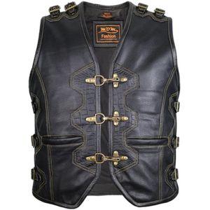 BLOUSON - VESTE Biker Gilet Cuir Noir Moto Vest