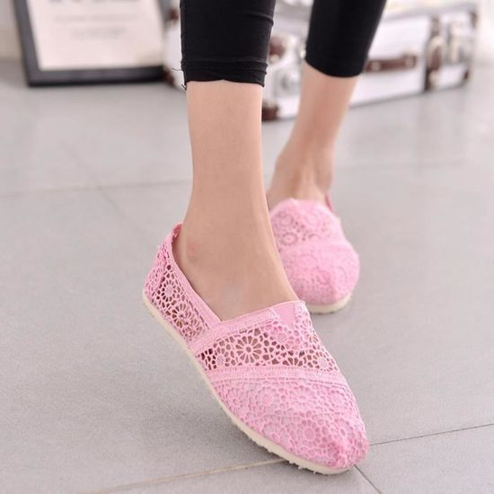Slip Casual Toile Femmes Crochet Flats Chaussures Sandales creux Chaussures plates@Rose  Benjanies Rose Rose - Achat / Vente slip-on