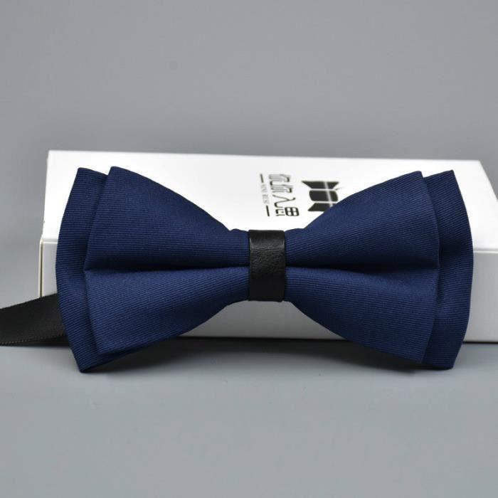 652c78b14b231 Cravate Noeud Papillon Homme Soirée Mariage Coton Bleu Foncé Réglable  Classique