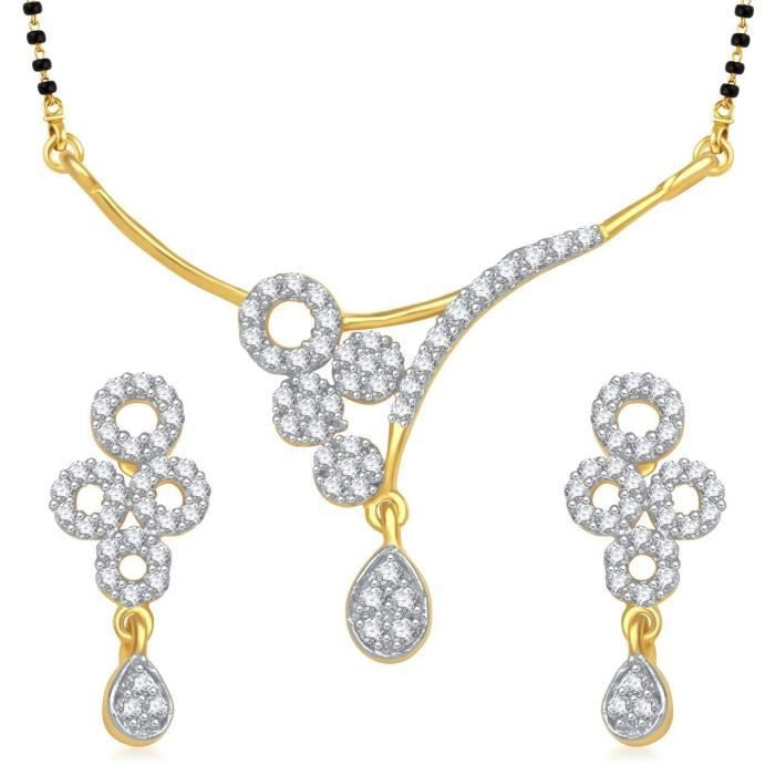 Womens galsutra Pendant Set With Earrings For Jewellery Set Gold Plated In Cz American Diamond Ms MQ761