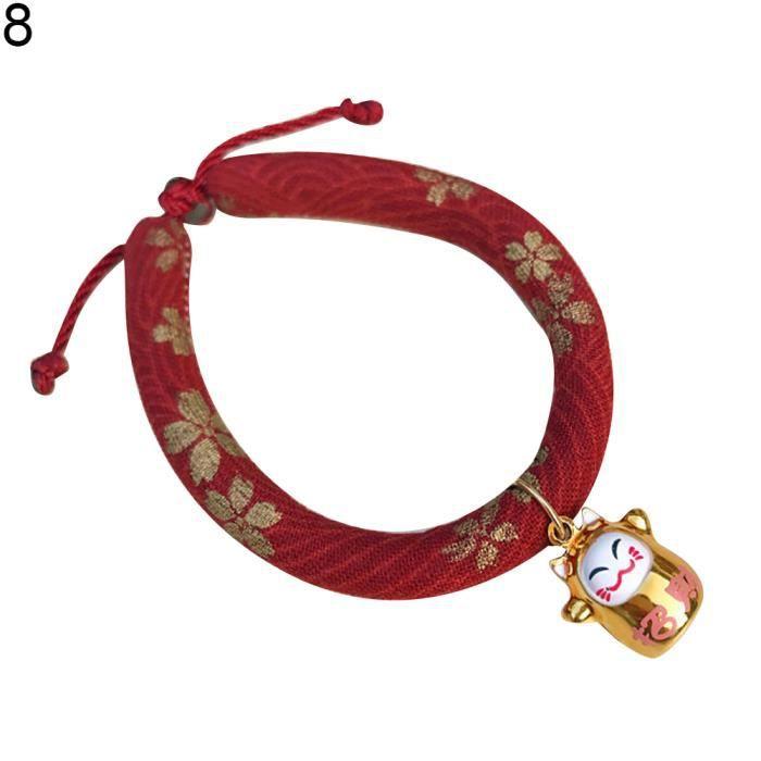 Chat Porte-bonheur Pendentif Mode Tissu Coton Réglable Doux Pet Chien Collier Chiot 8 # S