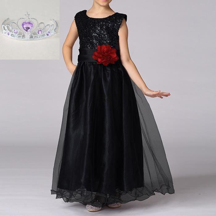 ccb9c399bd0 filles robe princesse paillettes de couleur unie fleurs ceinture Princess  dress-noir