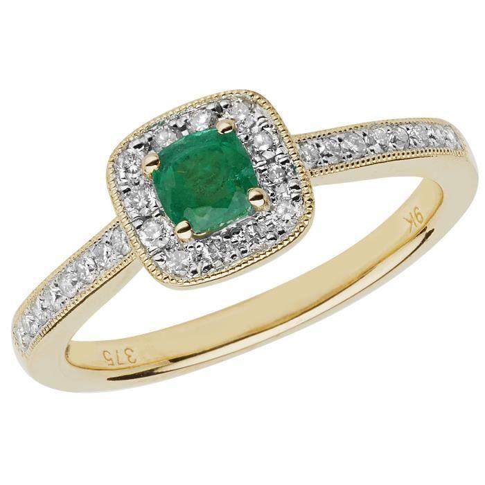 Bague Femme Pavage Or 375-1000 et Diamant Brillant 0.24 Carat HI - I1 avec Emeraude