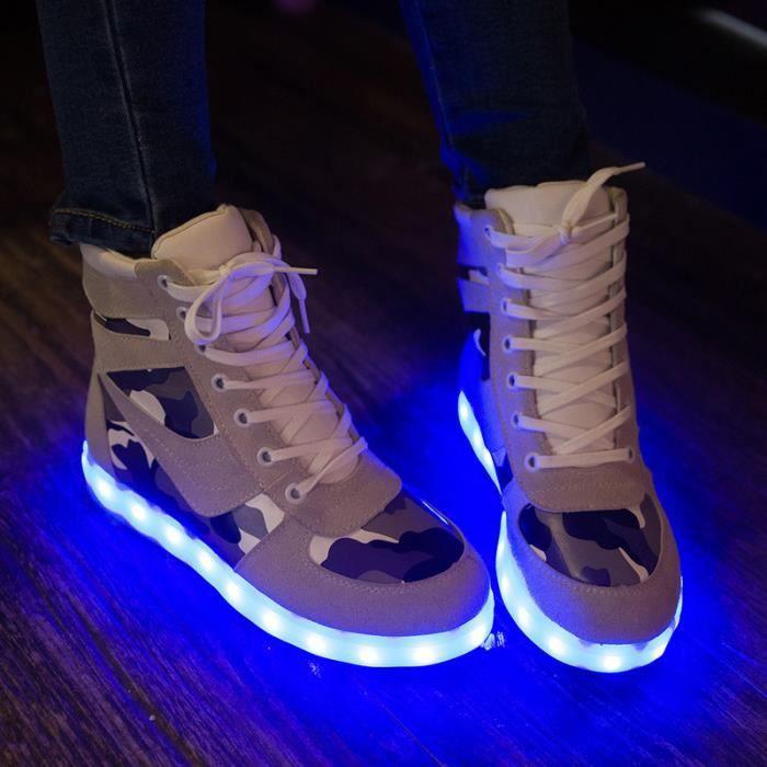 Baskets Femme chaussuresLED lumières 7 Couleur USB Bottes Chaussures de sport 3aA7zJ
