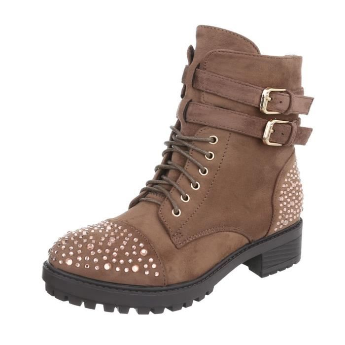 Bottines pour femme Camouflage | Bottes lacets travailleur | Demi-bottes | Chaussures pour femmes Bottes lacées Cuir-Look | Robuste