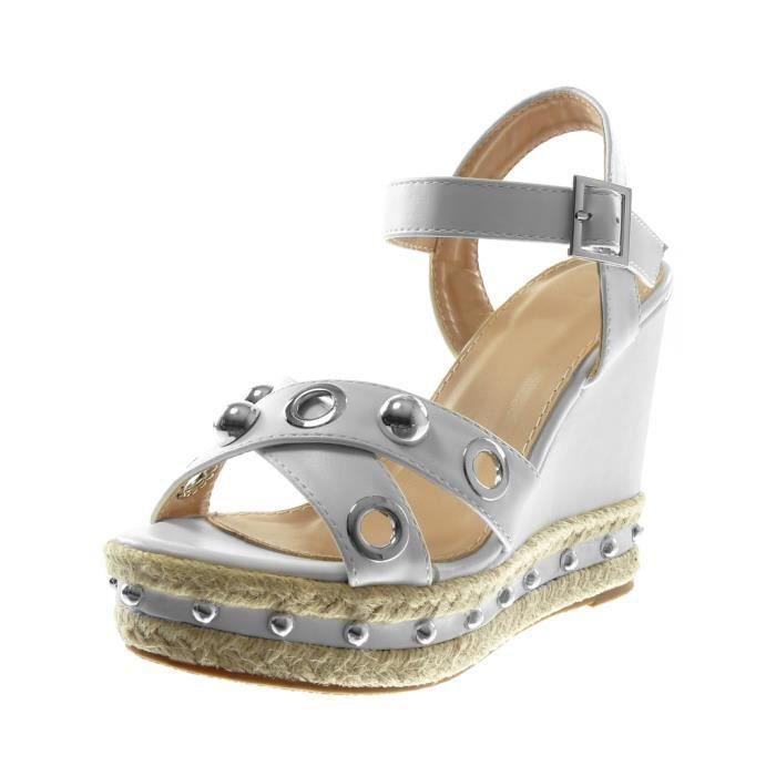 Angkorly - Chaussure Mode Sandale Mule lanière cheville plateforme femme perforée perle clouté Talon compensé plateforme 12 CM -