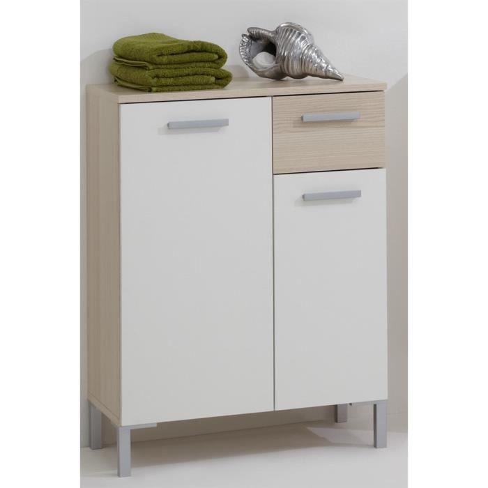 Meuble de salle de bains 2 portes 1 tiroir lerida fr ne for Meuble salle de bain porte basculante