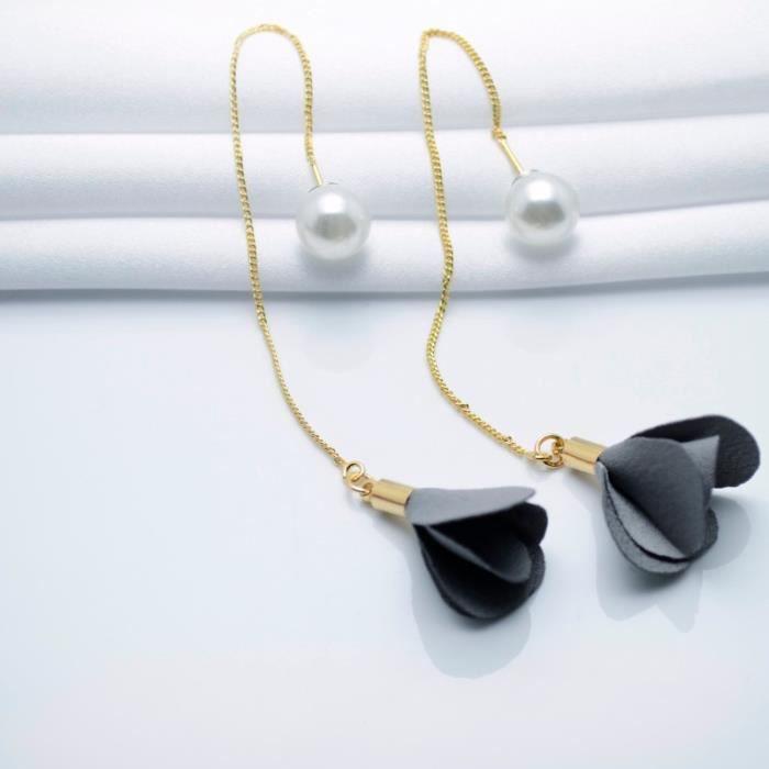 Bijoux mode 20181001 boucle doreille version coréenne de la nouvelle ligne de loreille perle fleur simple tissu pompon femme