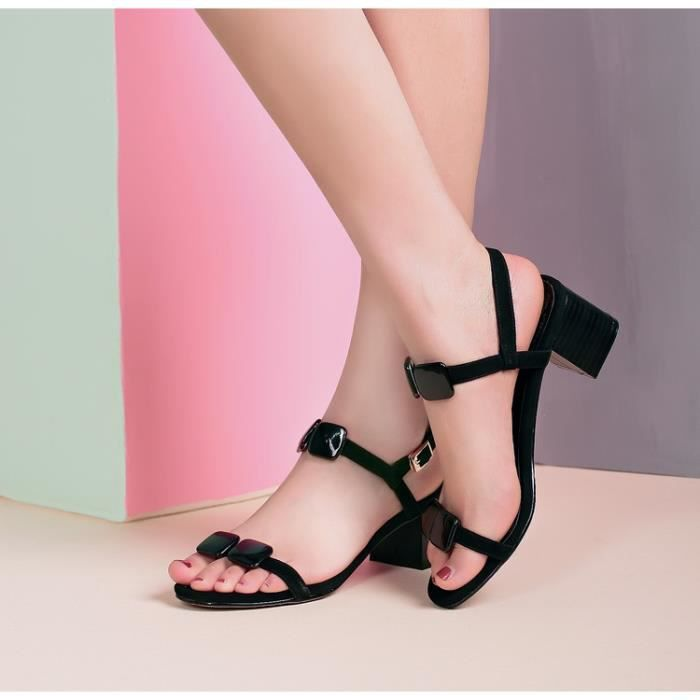 talons hauts-Pure Color Heel Thick Women Ankle ...