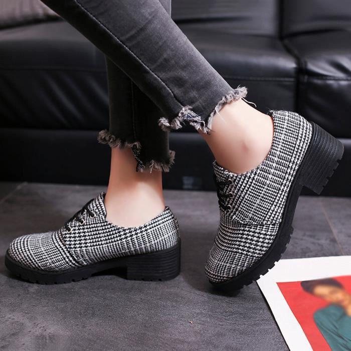 Bottines De En Dentelle Rond Chaussures Cuir Féminine Up Casual Plat Mode Cheville Bout Bottes yunsoel1175 58wPPpqTZ