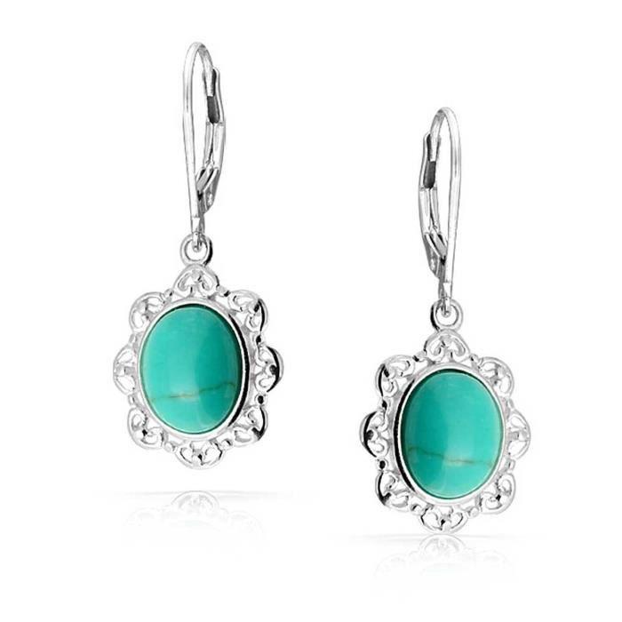 Ovale Turquoise Boucles Levierdoucement Vers Antique 925 En Filigrane Argenté