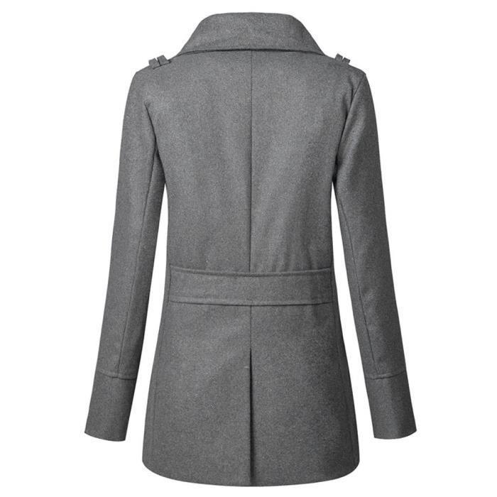 Double Zly71026784gy Jacket Gris Overwear Manteau Long Longue Femme Boutonnage Slim whicloud À q0SzTv