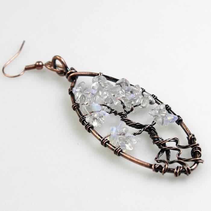 Boucles doreilles Dangle Femmes, Arbre de vie Amethyst Lapis Lazuli Rose Quartz Vintage Retro Jewel Chakra LUD9S
