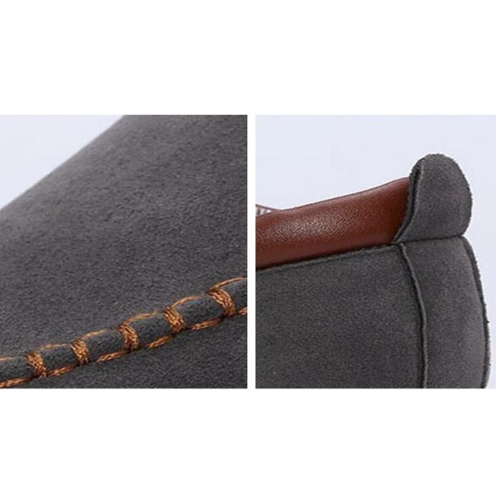 Chaussure Mocassin Homme En Daim Cuir Patchwork Occasionnels Étudiant Populaire BXX-XZ113Gris39
