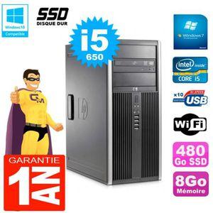 UNITÉ CENTRALE + ÉCRAN PC HP 8100 Tour Core i5-650 RAM 8Go SSD 480Go Grav