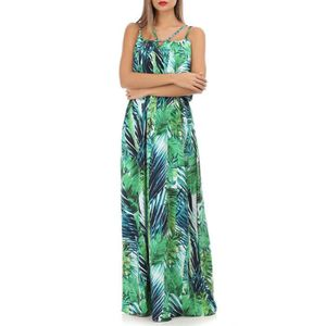 0e4e27641bd ROBE Robe longue à imprimé tropical vert et bleu