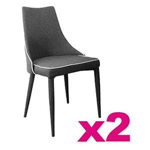 CHAISE Lot de 2 chaises tissu Juliette en Gris galet, L47 9fb861d5032b