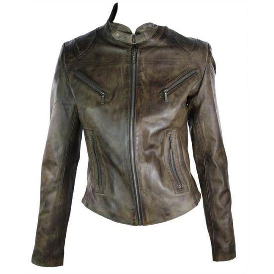 bd2ef6a3efc7b Veste femme perfecto cuir 100% véritable coupe cintrée style biker vintage  marron foncé Rock Marron Marron - Achat / Vente blouson - Soldes d'été  Cdiscount