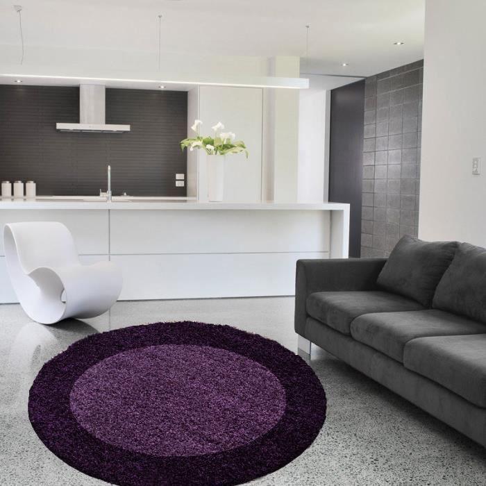 Life tapis de salon shaggy rond Ø160 cm violet