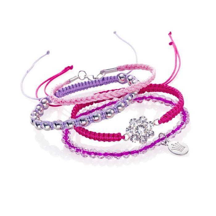 Kit bracelets Roses - Longueur environ 21 cm - Kit complet pour réaliser 4 bracelets au ton rose/mauveKIT BIJOUX