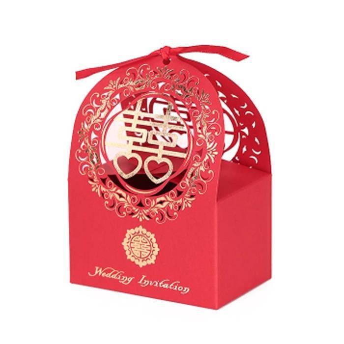 K Lot De 10 Boîtes Décoratives Cadeaux Chinois Style De Mariage Bonbons Boîtes De Carton