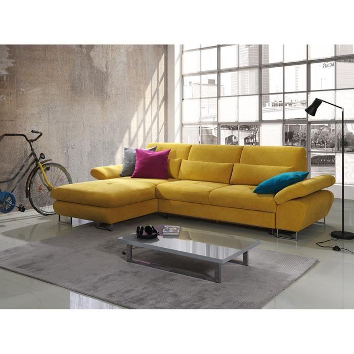 acheter populaire 7bdf6 e9121 Canapé d'angle convertible jaune moutarde avec coffre ...