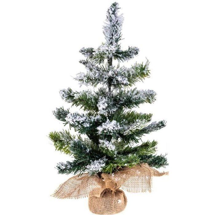 sapin de no l artificiel enneige 43 branches h 50 cm floqu blanc achat vente sapin. Black Bedroom Furniture Sets. Home Design Ideas