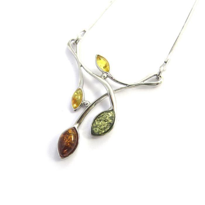 Les Trésors De Lily [N2777] - Collier argent Inspiration 3 ambres (rhodié)