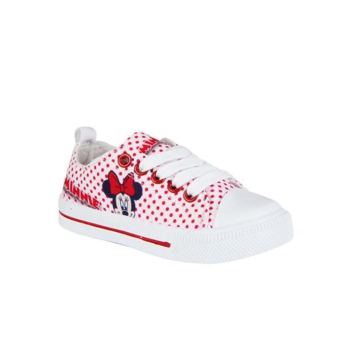 Baskets en toile à pois Minnie - fille - rouge