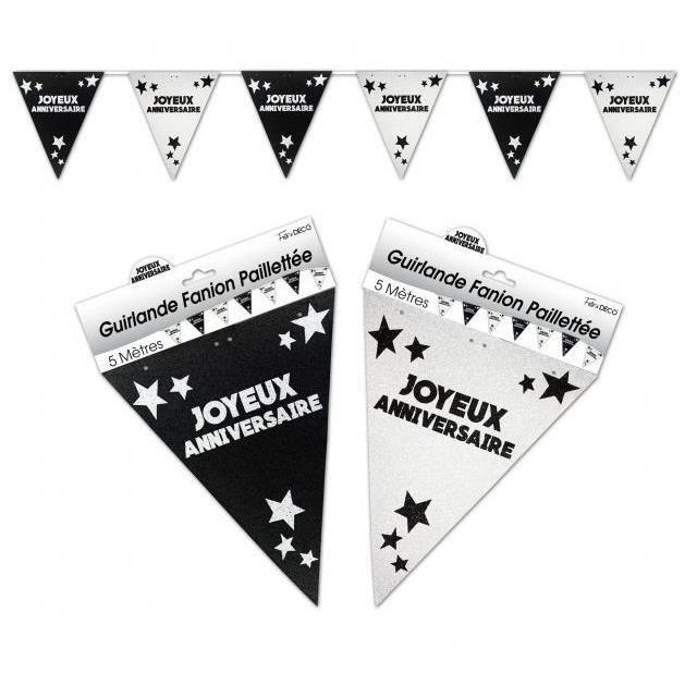 guirlande fanion anniversaire paillet e noir et blanc x1 ref gfp00n achat vente banderole. Black Bedroom Furniture Sets. Home Design Ideas