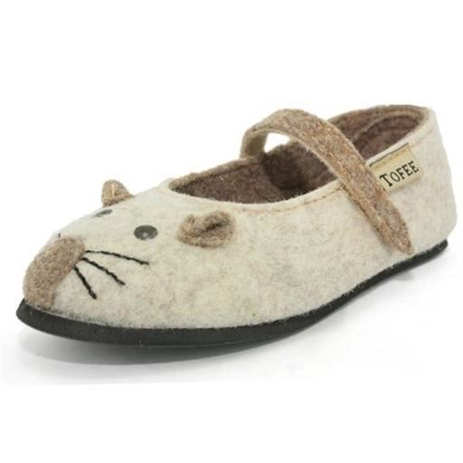 chaussons / pantoufles tofee - chaussons fille souris en laine bouillie b filles tofee h71tof001 30 Beige